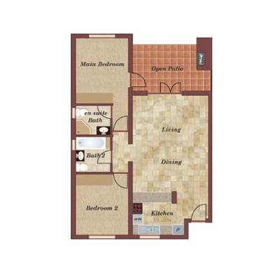 2 Bedroom Garden Apartments